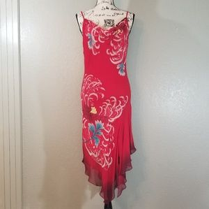 Cache Red Silk Embellished Handkerchief Midi Dress